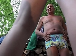 Grandpa coupled with 2 young cuties snowy coupled with fucked in old young threesome blowjob