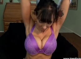 34F breasts Pov busty tugjob by smoking MILF