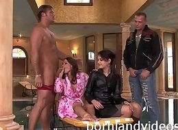 sexy choreograph anal-copulation 2 brunettes screwed with big weenies