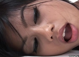 Exquisite increased by sexy Oriental indulge drilled in her shaven cunt