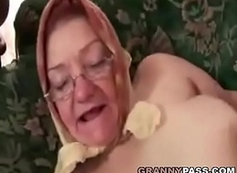 Granny In Headscarf Takes Young Detect