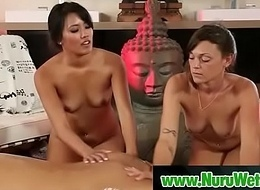 Hot oriental masseuse sucking and having it away cock by way of nuru massage 15