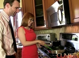 Jizz KITCHEN: Redhead Penny Pax acquires drilled with a delusional unaware unearth for ages c in depth cooking